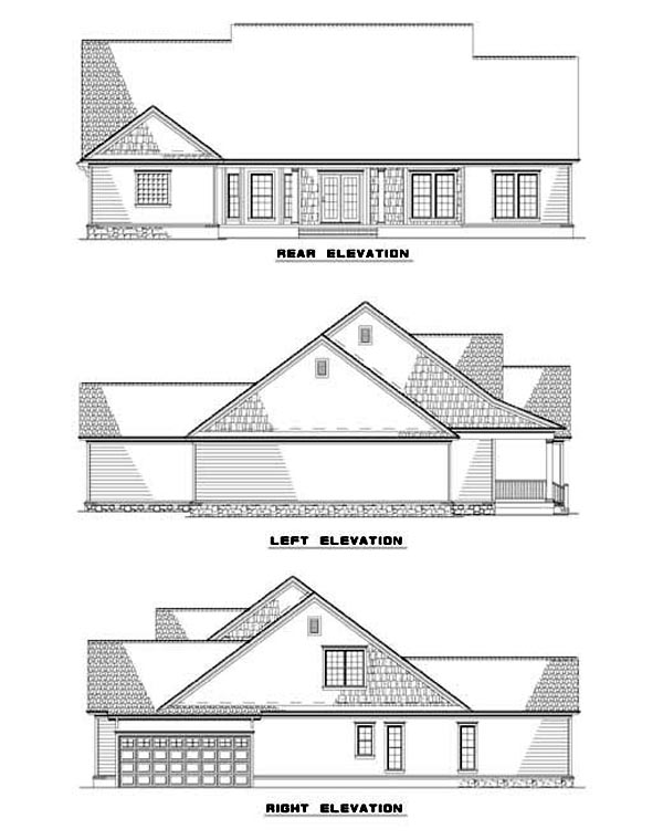 Country House Plan 62065 with 4 Beds , 4 Baths , 2 Car Garage Rear Elevation