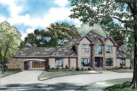 European , Southern House Plan 62066 with 4 Beds, 5 Baths, 2 Car Garage Elevation