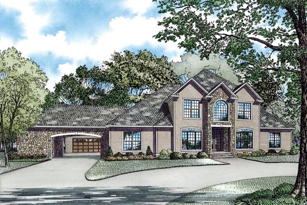 European Southern House Plan 62066 Elevation