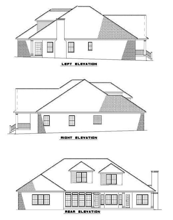 Country Rear Elevation of Plan 62068