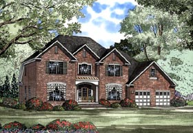 House Plan 62071 | European Style Plan with 3283 Sq Ft, 4 Bedrooms, 3 Bathrooms, 3 Car Garage Elevation