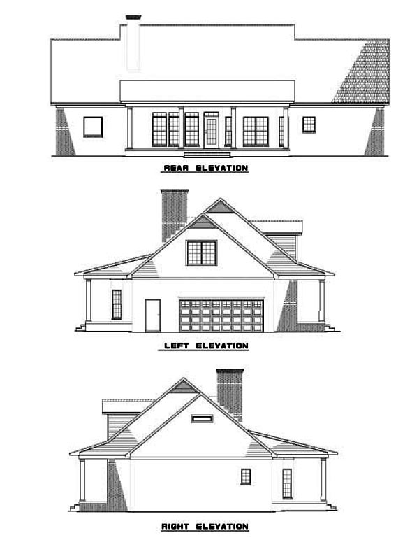 Colonial Country Southern House Plan 62072 Rear Elevation