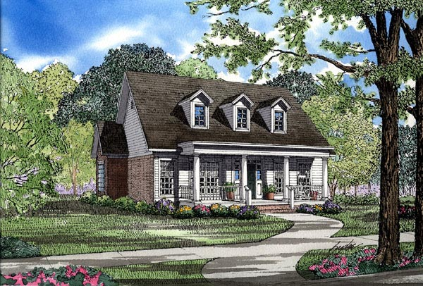 Colonial Country Narrow Lot One-Story Southern Elevation of Plan 62073
