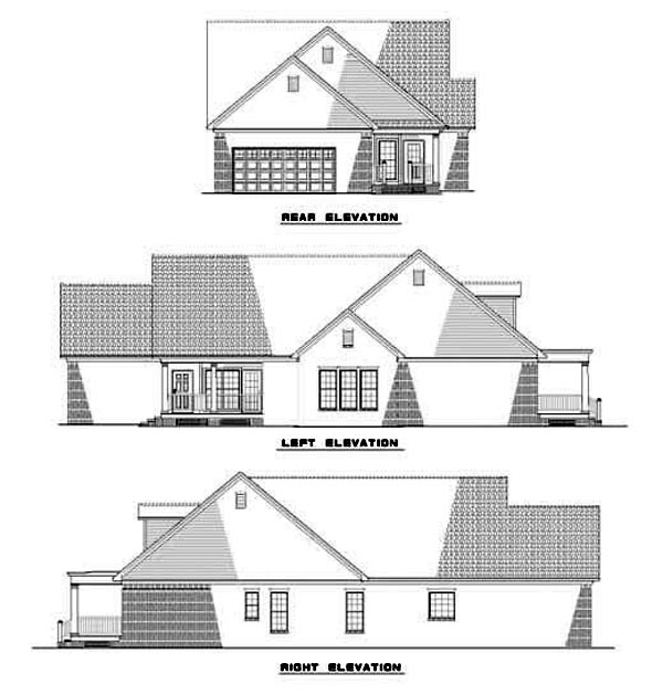 Colonial Country Narrow Lot One-Story Southern Rear Elevation of Plan 62073