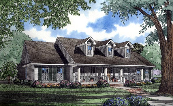 Country, Southern House Plan 62074 with 4 Beds, 3 Baths, 2 Car Garage Elevation