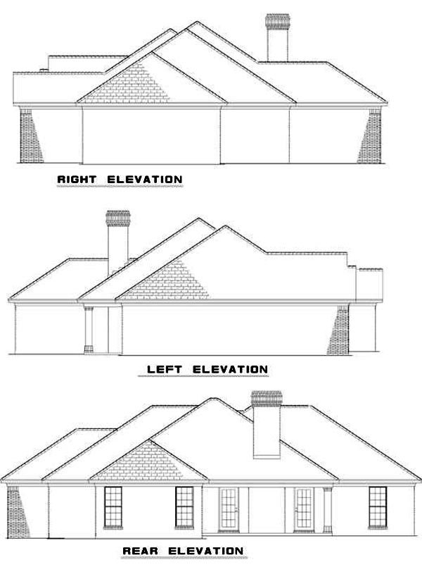 Ranch Traditional House Plan 62075 Rear Elevation