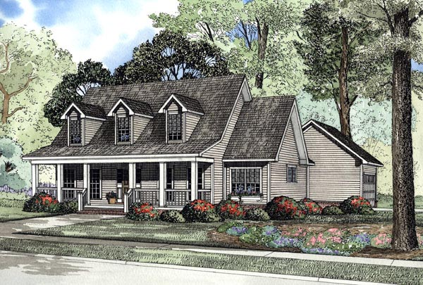 Cape Cod, Country House Plan 62076 with 3 Beds, 3 Baths, 2 Car Garage Elevation