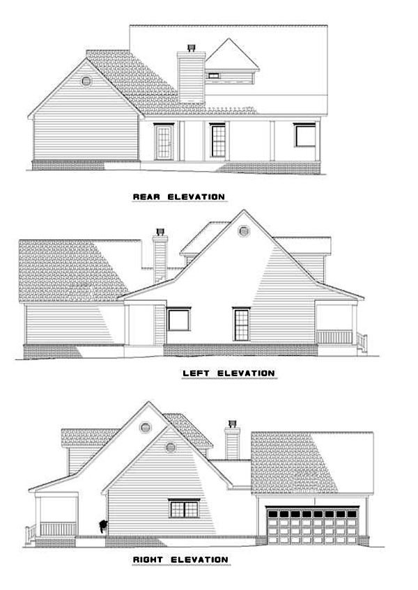 Cape Cod, Country House Plan 62076 with 3 Beds, 3 Baths, 2 Car Garage Rear Elevation