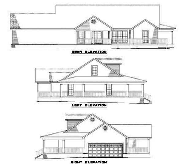Country Southern House Plan 62077 Rear Elevation