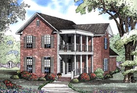 House Plan 62078 | Colonial Southern Style Plan with 2371 Sq Ft, 4 Bedrooms, 3 Bathrooms, 2 Car Garage Elevation