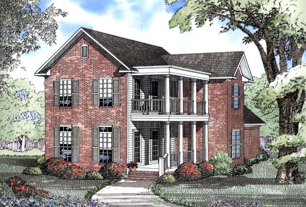 Colonial , Southern House Plan 62078 with 4 Beds, 3 Baths, 2 Car Garage Elevation