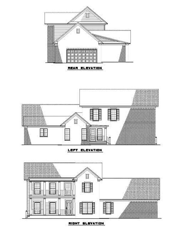 Colonial , Southern House Plan 62078 with 4 Beds, 3 Baths, 2 Car Garage Rear Elevation