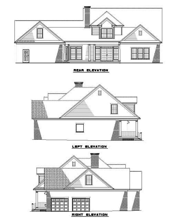 Cape Cod , Country , Rear Elevation of Plan 62079