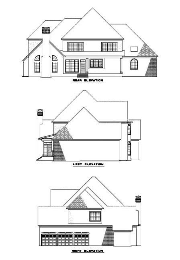 European Traditional Rear Elevation of Plan 62082