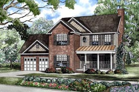 Traditional , Country House Plan 62085 with 3 Beds, 3 Baths, 2 Car Garage Elevation