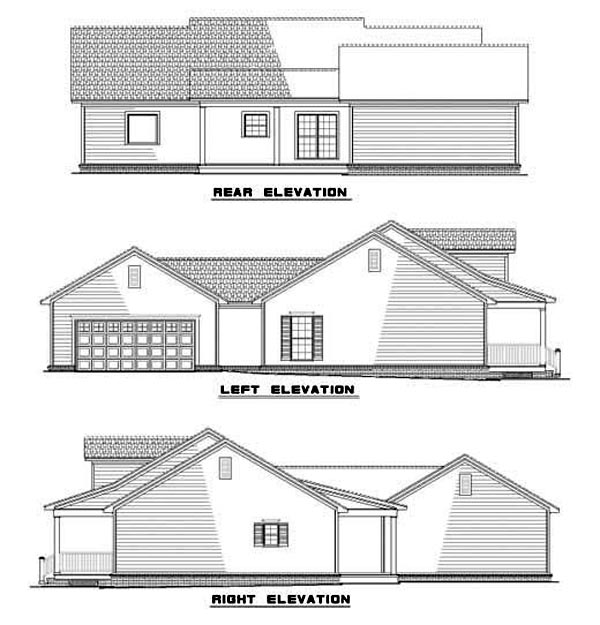 Country , Ranch , Rear Elevation of Plan 62086