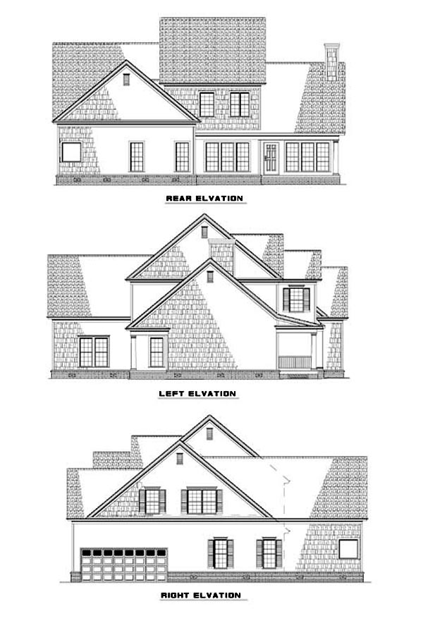 Country, Traditional House Plan 62089 with 5 Beds, 3 Baths, 2 Car Garage Rear Elevation