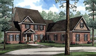 Colonial, Traditional House Plan 62091 with 5 Beds, 4 Baths, 2 Car Garage Elevation