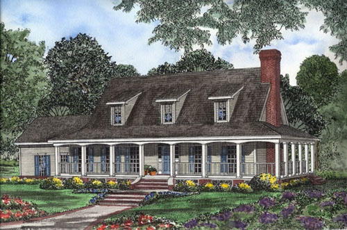Country, Southern House Plan 62094 with 3 Beds, 3 Baths, 2 Car Garage Elevation