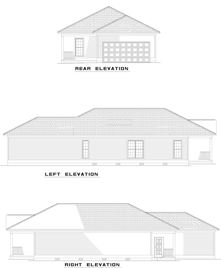 Country, Southern House Plan 62096 with 2 Beds, 2 Baths, 2 Car Garage Picture 2