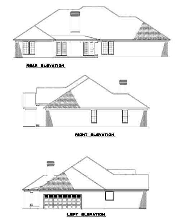 European, One-Story House Plan 62098 with 4 Beds, 3 Baths, 2 Car Garage Rear Elevation