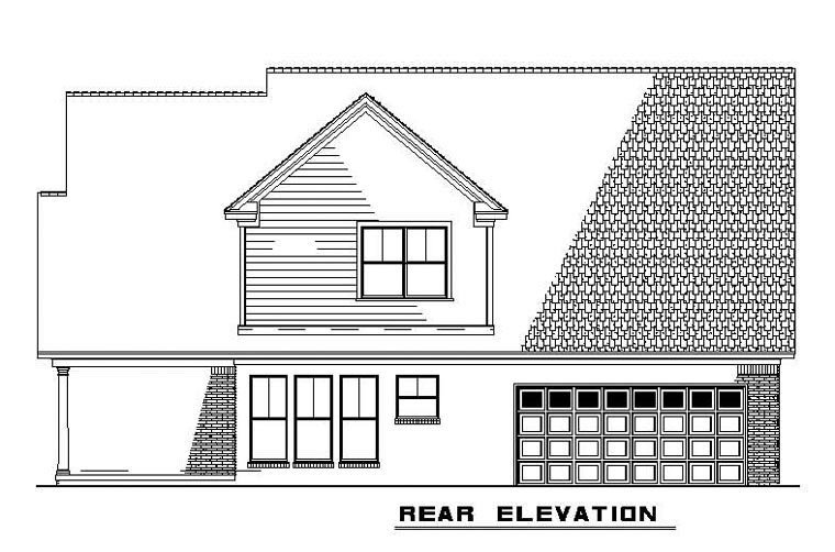 Country Traditional House Plan 62100 Rear Elevation
