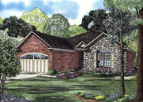 Traditional , European , Craftsman House Plan 62105 with 2 Beds, 2 Baths, 2 Car Garage Elevation