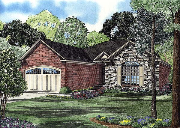 Craftsman, European, Traditional House Plan 62105 with 2 Beds, 2 Baths, 2 Car Garage Elevation
