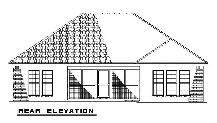 Craftsman, European, Traditional House Plan 62105 with 2 Beds, 2 Baths, 2 Car Garage Rear Elevation