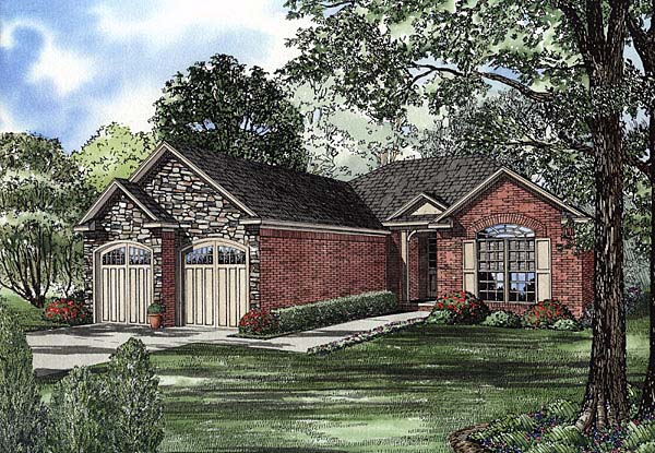European, One-Story, Traditional House Plan 62106 with 2 Beds, 2 Baths, 2 Car Garage Elevation