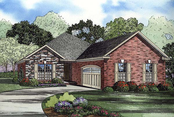 European Traditional House Plan 62108 Elevation