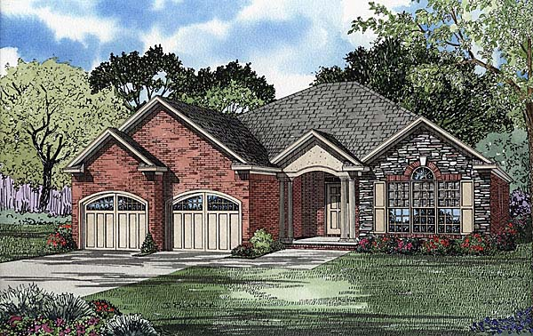 European, Traditional House Plan 62110 with 3 Beds, 2 Baths, 2 Car Garage Elevation