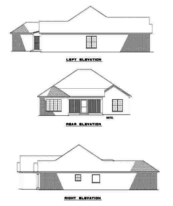 European, Traditional House Plan 62110 with 3 Beds, 2 Baths, 2 Car Garage Rear Elevation