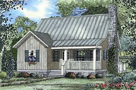 Cabin , Country , Southern House Plan 62114 with 2 Beds, 2 Baths Elevation
