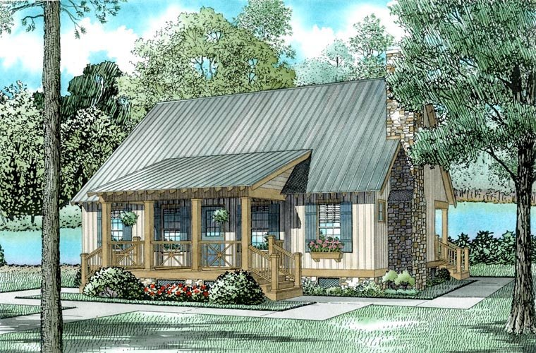 Cabin Cottage Country Southern Elevation of Plan 62115