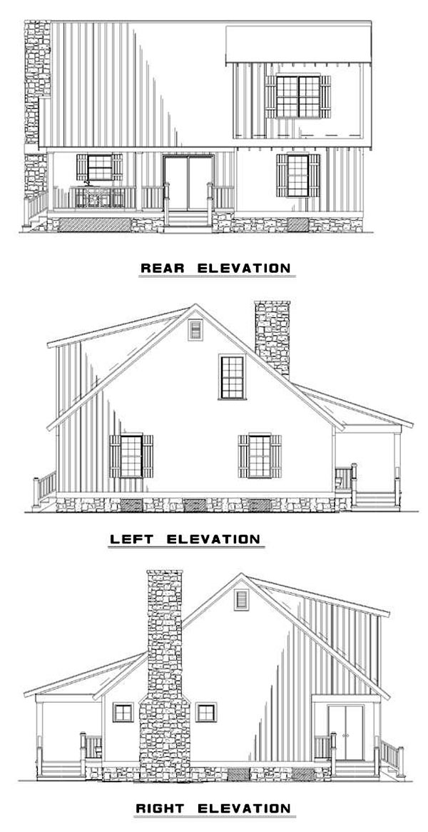 Cabin Cottage Country Southern Rear Elevation of Plan 62115