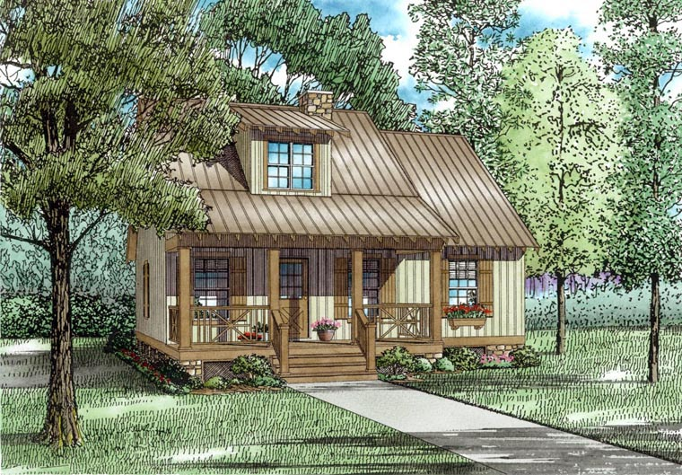 Cabin, Country, Southern House Plan 62116 with 3 Beds , 2 Baths Elevation