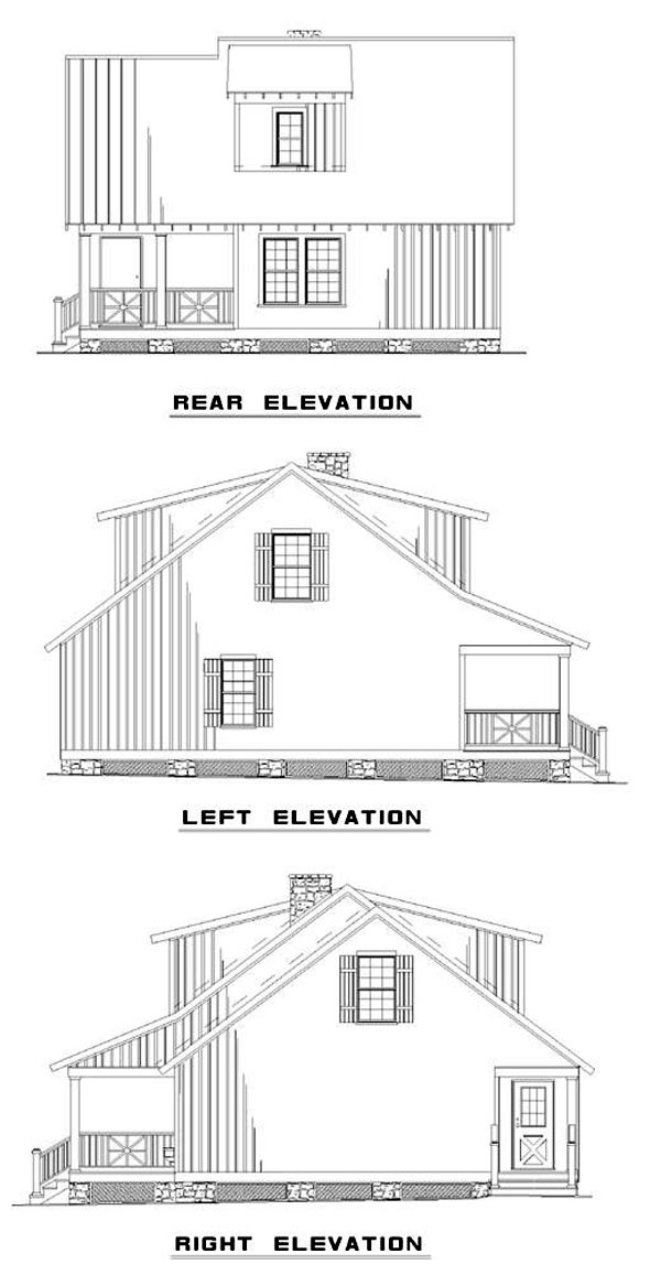 Cabin, Country, Southern House Plan 62116 with 3 Beds , 2 Baths Rear Elevation