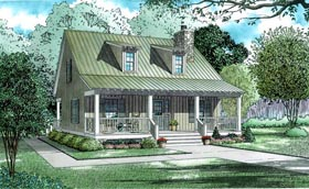 Cabin , Country , Southern House Plan 62118 with 2 Beds, 2 Baths Elevation