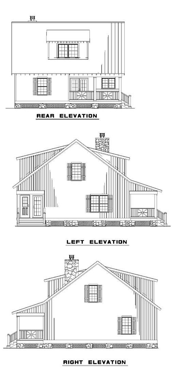 Cabin Country Southern House Plan 62118 Rear Elevation