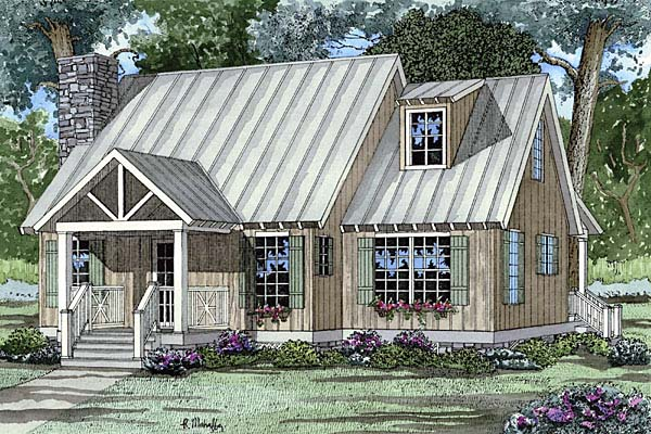 Bungalow, Cabin, Cottage, Southern House Plan 62119 with 2 Beds, 2 Baths Elevation