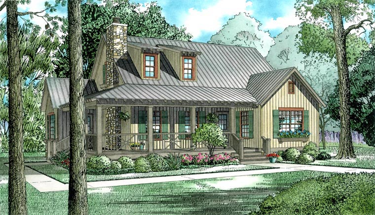 Bungalow, Country, Southern House Plan 62120 with 4 Beds, 2 Baths Elevation
