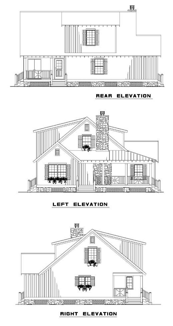 Bungalow, Country, Southern House Plan 62120 with 4 Beds, 2 Baths Rear Elevation