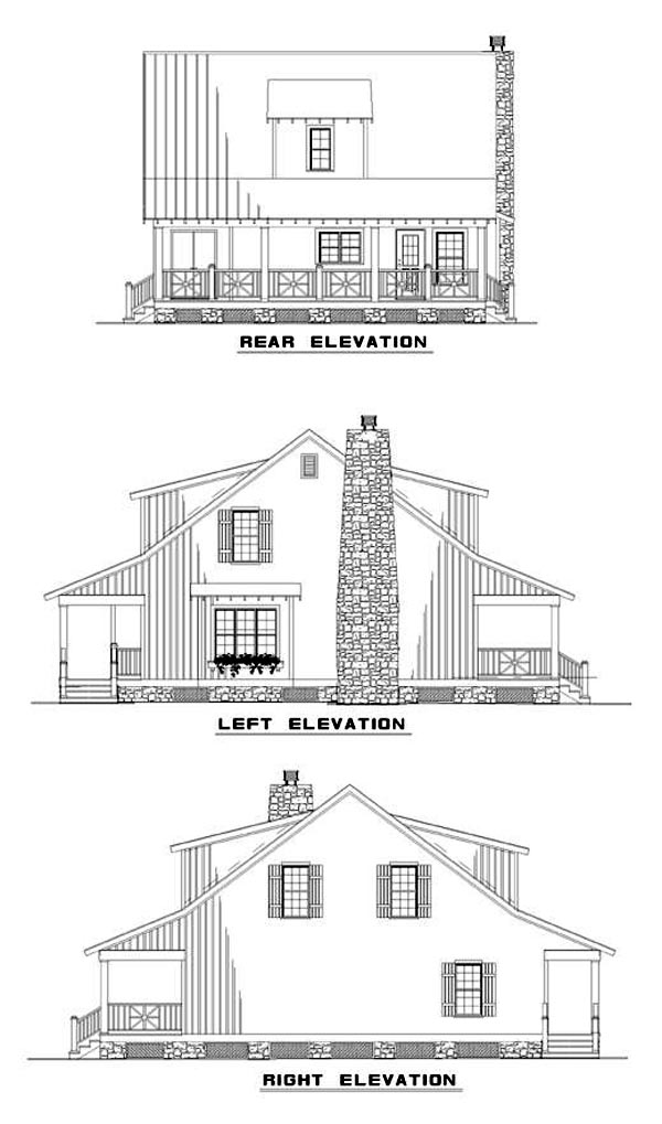 Cottage Country Southern House Plan 62122 Rear Elevation