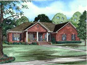 Colonial, One-Story, Traditional House Plan 62124 with 4 Beds , 3 Baths , 2 Car Garage Elevation