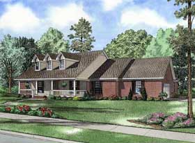 House Plan 62126 | Country Style Plan with 2806 Sq Ft, 4 Bedrooms, 3 Bathrooms, 2 Car Garage Elevation