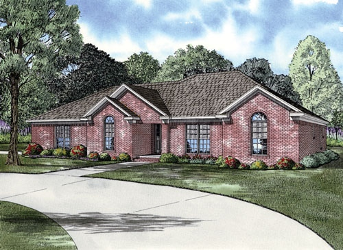 European Ranch Traditional Elevation of Plan 62127