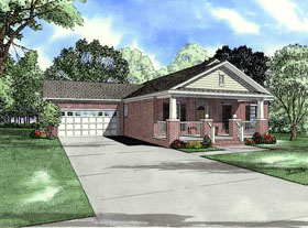 Bungalow, One-Story, Traditional House Plan 62129 with 3 Beds , 2 Baths , 2 Car Garage Elevation