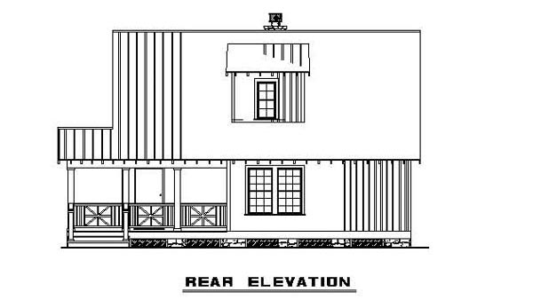 Bungalow, Cabin, Country, Southern House Plan 62131 with 3 Beds, 2 Baths Rear Elevation