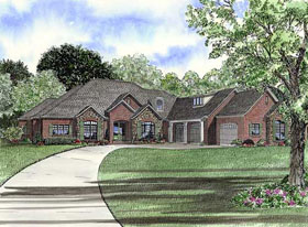 European , Southern , Traditional House Plan 62132 with 3 Beds, 4 Baths, 3 Car Garage Elevation